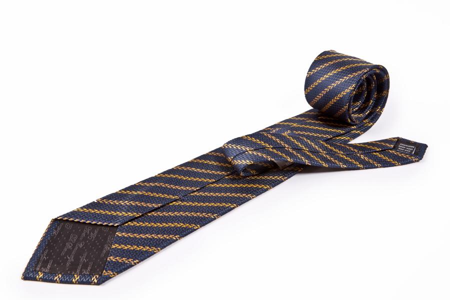 Cravatta blu giallo righe